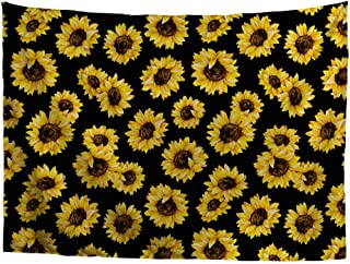 HUGS IDEA Tapestry Yellow Blooming Sunflower Design Wall Hanging Stylish Art Wall Carpet for Living Room Bedroom Adorn