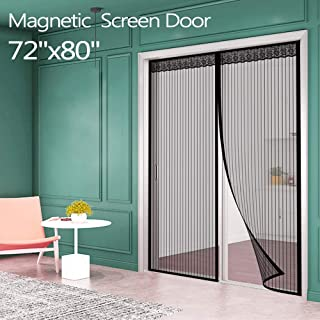 "Magnetic Screen Door for French Door (72""W80""L) IKSTAR Sliding Screen Door with Full Frame Magic Tape Instant Double Mesh for Front Door Bug Out Kids/Pets Walk Through Fit Door Up to 70""x79"" Max"