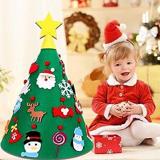 Kbnian Árbol de Navidad Fieltro Cónico 3D con Adornos Colgantes 70 * 50cm Árbol Navidad Fieltro DIY para Niños Pequeños Decorar Cuarto de Los Niños Sala Centro Comercial Escaparates