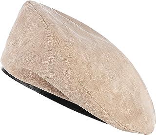 Jelord Boina Mujer Invierno Bonina Militar Boinas Francesa Vintage Sombrero de Gamuza Primavera Otoño Sombrero Redondo Cálido