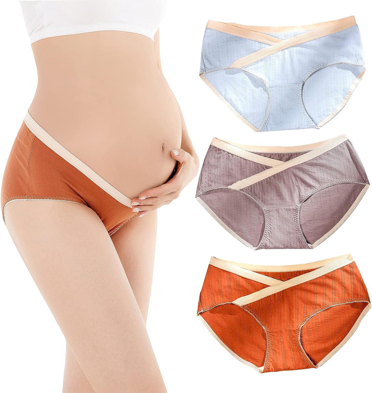 Womens Maternity Underwear Cotton Under Bump Brief Pregnancy Postpartum Bikinis Panties 3 Pack