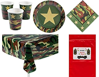 Military Camouflage Soldier Decorations Tableware Boy's or Girl's Party Pack Bundle (1 Table Cover, 8 Army Dinner Plates, 16 Luncheon Napkins, 8 Drinking Cups & Bonus Bag) by Multiple