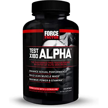 Test X180 Alpha Free Testosterone Booster to Boost Nitric Oxide, Build Lean Muscle, Improve Athletic Performance, Force Factor, 120 Count