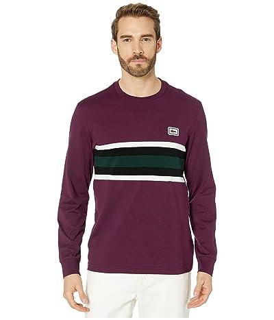 Lacoste Long Sleeve Heavy Jersey Bold Stripe/Color Block T-Shirt Regular (Eggplant/Flour/Black/Sinople) Men
