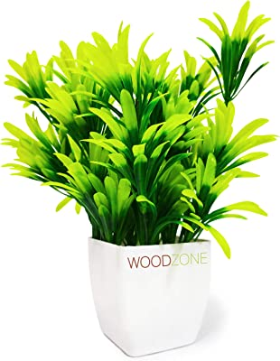 WoodZone Indoor Faux Artificial Plants with Pot for Desk or Home Decor   Guldasta   Artificial Flowers with Pot   Artificial Green Plants   Artificial Plants for Home Decoration (10 inches, Green)