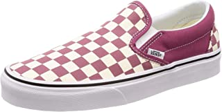 checkerboard slip on vans with roses