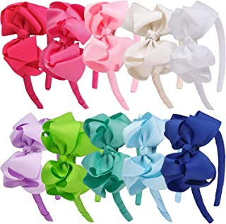 4inch Grosgrain Ribbon Hair Bows Hairbands Headbands for Baby Girls Toddlers Children Pack of 10