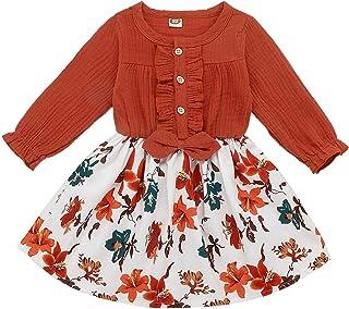 Verve Jelly Enfant en Bas âge bébé Filles Robe à Volants à Manches Longues Bowknot Robes décontractées Filles vêtements Te...