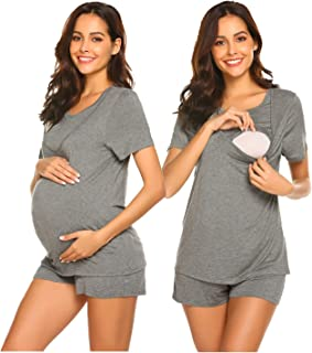 Ekouaer Labor/Delivery/Nursing Maternity Pajamas Set for Hospital Home, Basic Nursing Shirt, Adjustable Size Pregnancy Shorts