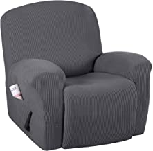 H.VERSAILTEX Super Stretch Couch Covers Recliner Covers Recliner Chair Covers Form Fitted Standard/Oversized Power Lift Reclining Slipcovers, Feature Soft Thick Jacquard, Grey, 1 Pack