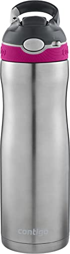 Contigo AUTOSPOUT Straw Ashland Chill Stainless Steel Water Bottle, 20 oz, Very Berry