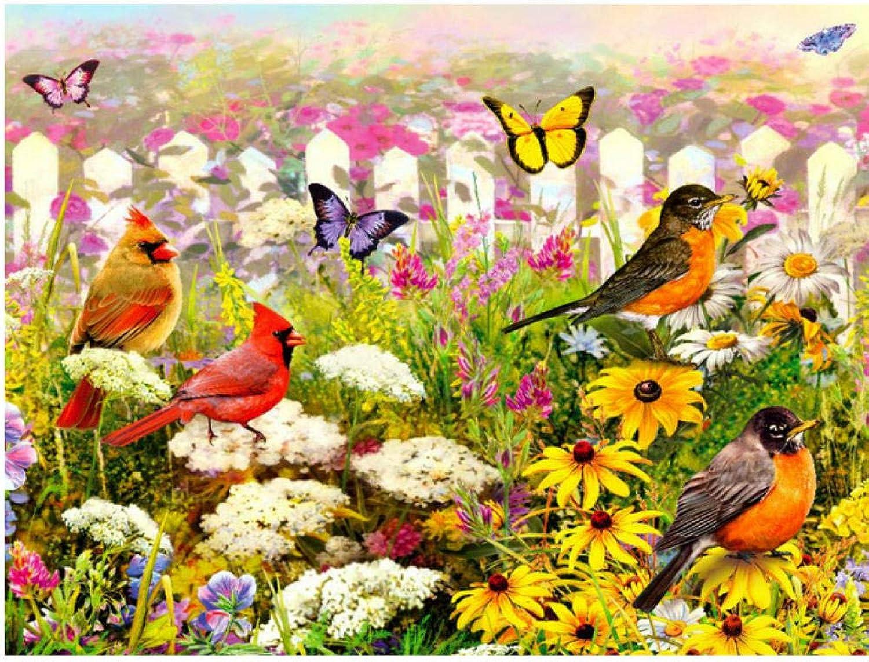 Waofe Le Twitter Des Oiseaux Et Le Parfum Des Fleurs Diy Painting By Numbers Peinture à L'Huile Digitale Peinte à La Main- With Frame