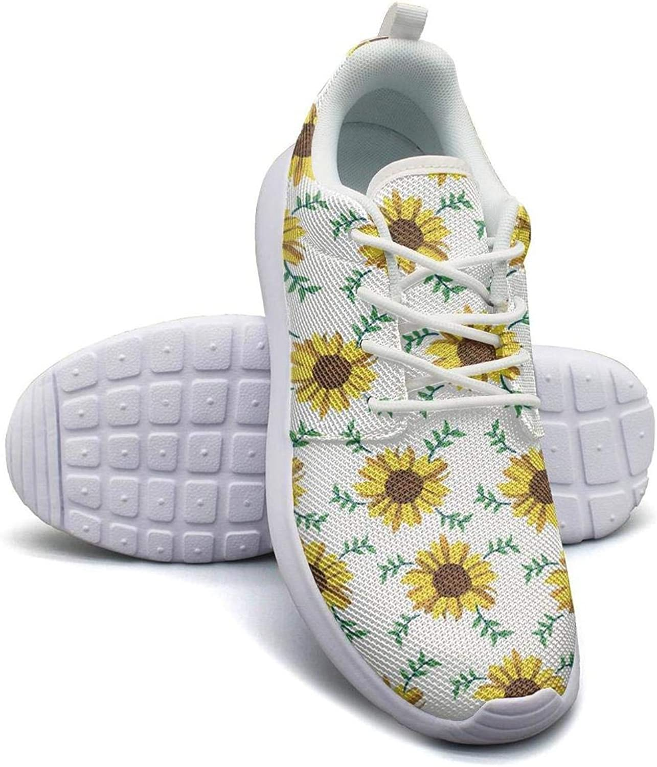 Yellow Sunflower Green Leaf Girl Flat Bottom Breathable Walking Shoes