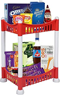 Cutting EDGE Pixie 28 x 21 CM - 2 Layer Red Shelf, Counter & Table Top Organizer for Home, Kitchen or Office Use - Multipu...