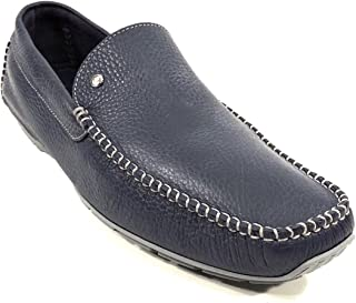 Men's Blue Leather Moccasins