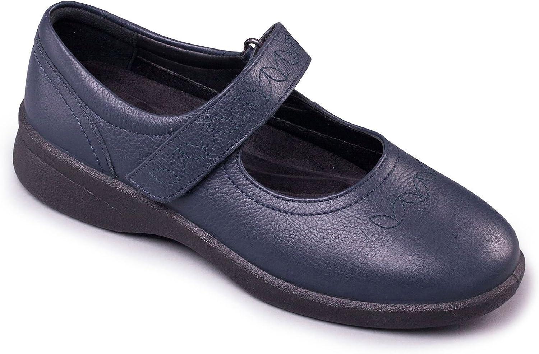 Padders Frauen Mary Jane Jane Jane Bar Schuhe - Sprite 2 - Soft - Oberleder - Extra Wide EEE EEEE Dual-Width Fit mit 2 Einlegesohlen - Navy Farbe - Größe 36 EU 135