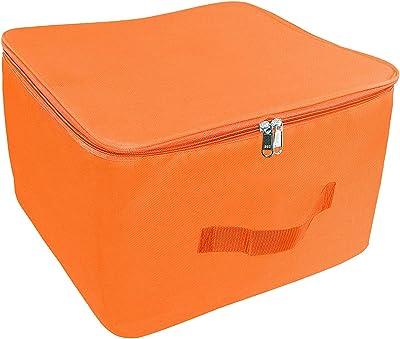 Vihadhya Nylon Wardrobe Organizer Storage Bag Orange for Clothes with Zipper Closure & Handle - (15 x 10 x 14 Inch)