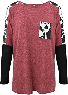 Miracle Women Fashion Summer Long Sleeve Color Block Tunic Tops Blouse Pullovers