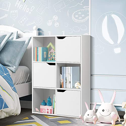 new arrival Giantex outlet online sale 6-Cube Storage Organizer, Storage Cabinet with 3 Open Cubes and 3 Cabinets, Free Standing Wooden Cubby Bookcase, Compartment Units for Home Office, 3-Tier Bookshelf online for Books, Toys (White) sale