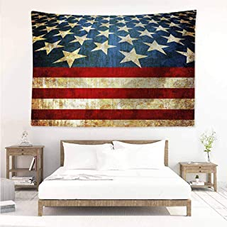 Sunnyhome Rectangular Tapestry,4th of July Grunge Flag Pattern,Home Decorations for Bedroom Dorm Decor,W90x59L