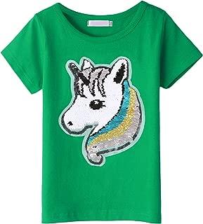 Balasha Girl's Short Sleeve Crewneck Tee Unicorn Flip Sequin T-Shirt Tops