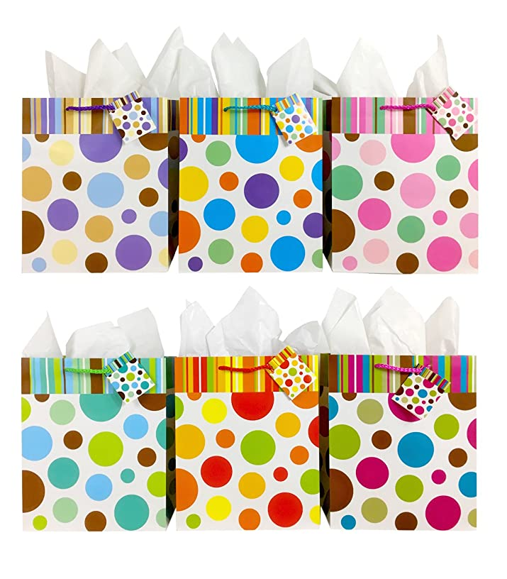 Polka Dot Gift Bags + Tissue Paper, 6 Bags All Occasion