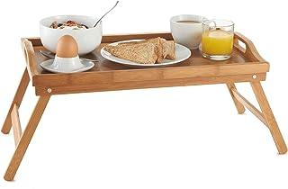 VonHaus - Bandeja de bambú para Cama, Bandeja de Desayuno para Cama con Patas Plegables