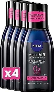 NIVEA MicellAIR Skin Breathe Struccante Occhi Bifase in Confezione da 4 x 125 ml, Struccante Bifasico per Trucco Waterproo...