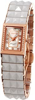 Time100 Women's Diamond-Set Stainless Dial Watch Ceramic Pyramid Band Watch for Ladies