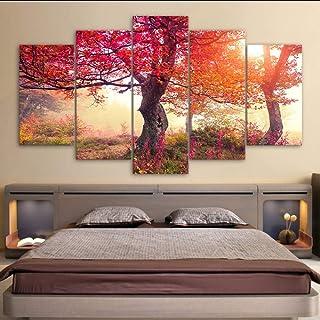 hhlwl Arte de la pared Cartel Decoración para el hogar Moderno 5 Panel Estaciones Árboles de