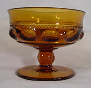 Indiana Glass Company King's Crown Sherbet Glasses Set of 4, Amber