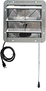 Iliving ILG8SF12V-T 12 inch Shutter Exhaust Attic Garage Grow, Ventilation Fan with 3 Speed Thermostat 6 Foot Long 3 Plugs Cord, 12