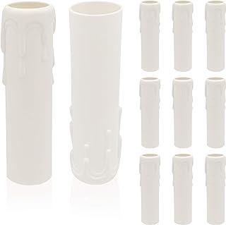 10 Vela Portalámparas,Lámpara Plástico Vela Casquillo de Estilo Retro,Diámetro 25MM para Decorar Apliques y Candelabros (Blanco)