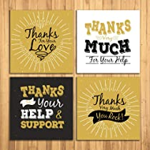 Wens Thank You Set of 4 Sparkle Laminated Wall Panels