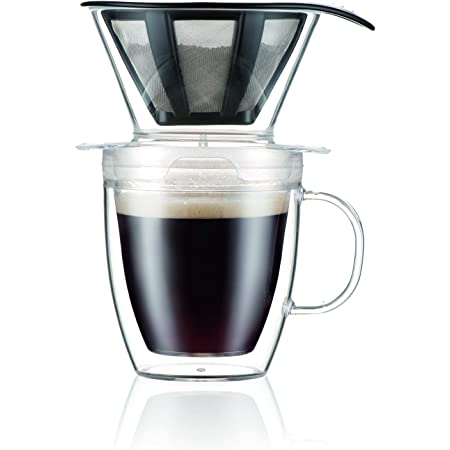 Bodum Pour Over Coffee Dripper Set With Double Wall Mug and Permanent Filter, 12 Ounce, Clear