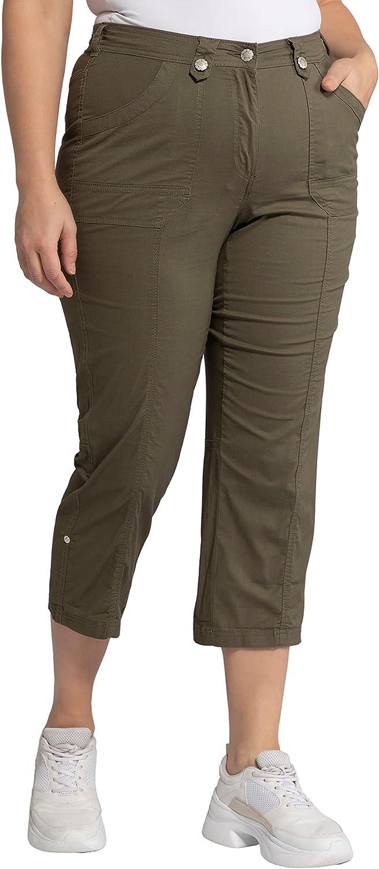 Ulla Popken Women's Plus Size Classic Roll-Tab Hem Olive Trust Pants Stretch 1