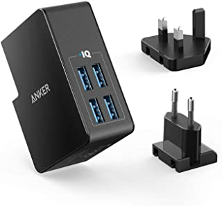 Anker USB Plug Charger 5.4A/27W 4-Port USB Charger, PowerPort 4 Lite with Interchangeable UK and EU Travel Charger, Adapte...