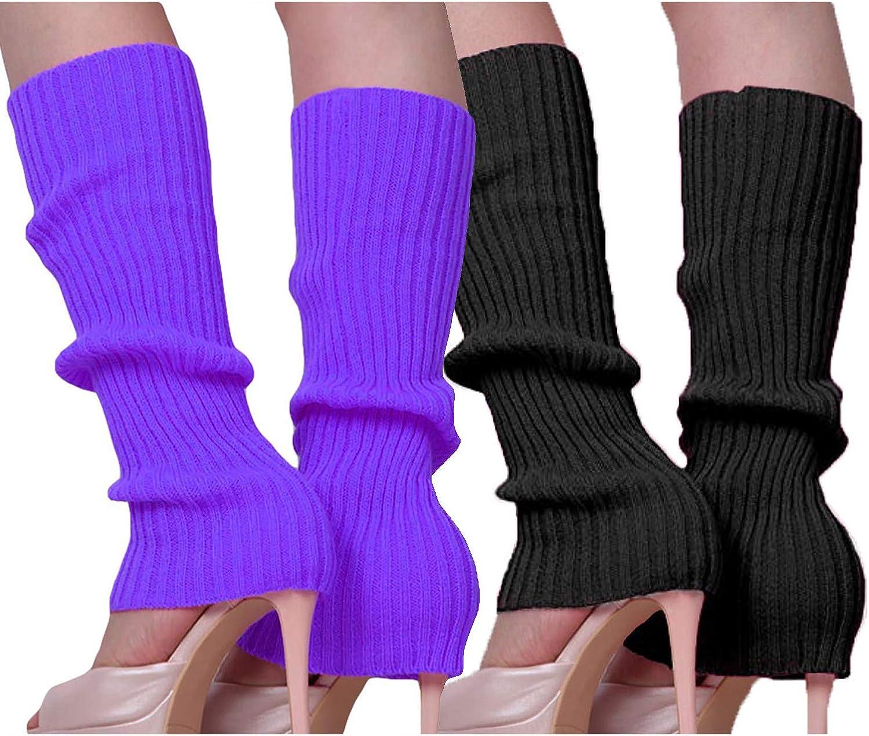 Song Qing Girls Teen 80s Dance Plain Ribbed Women Knit Crochet Long Leg Warmers Fancy Dress