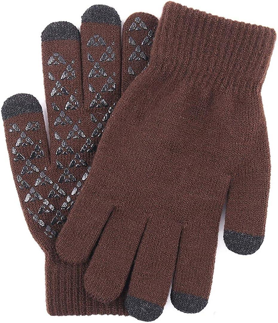 Touch Screen Knitted Gloves Men Women Thicken Wool Mitten Outdoors Anti-Slip Warmer Couple Gloves Men Coffee