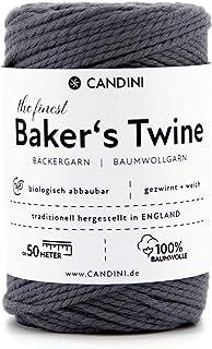 Candini Bäckergarn grau - weiches Bastelgarn aus reiner Baumwolle, 50m - Premium Qualität - Baker's Twine Bastelschnur, Geschenkband - Made in England