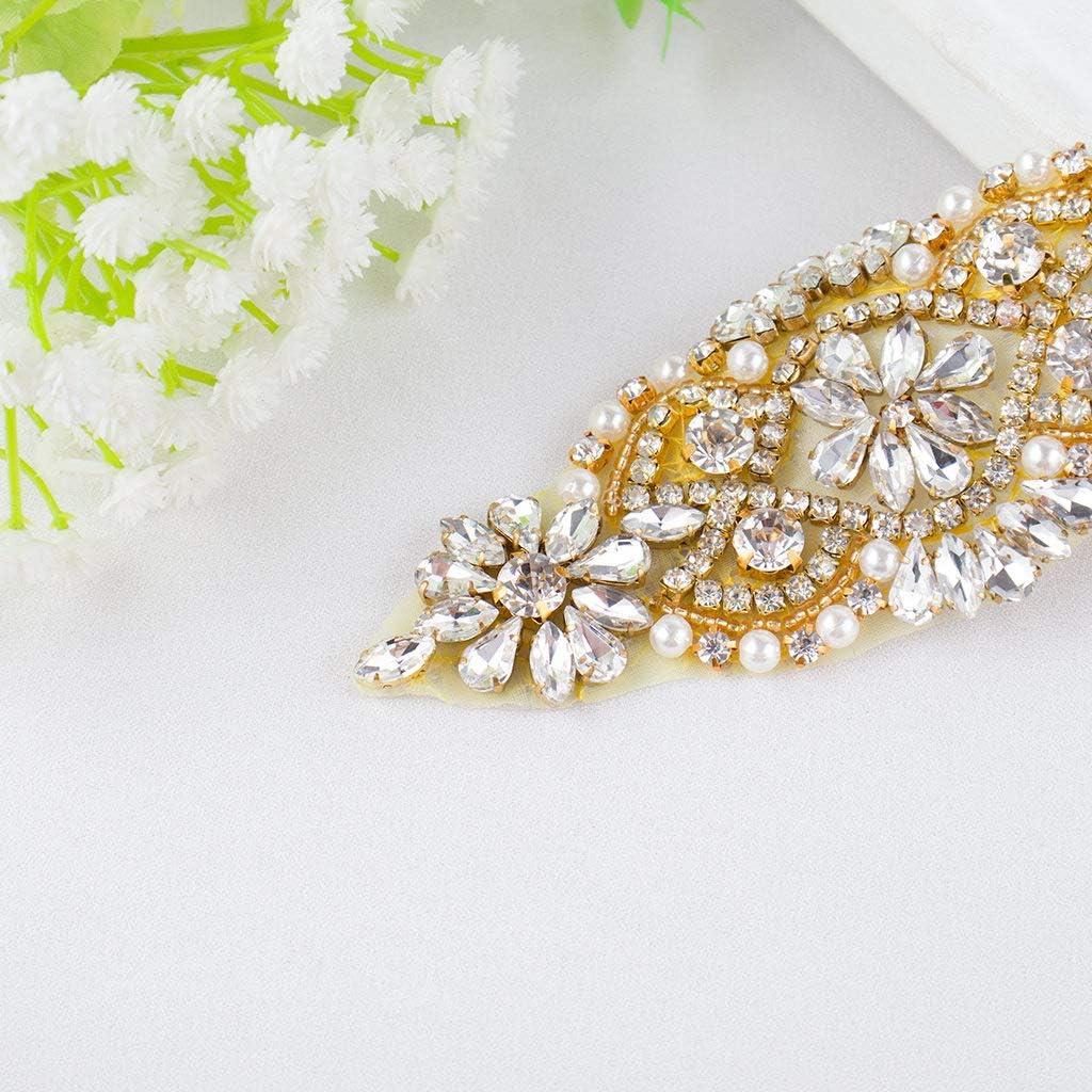 Wedding Belt Iron On Patches Rhinestone Belt For Women Bridal Garter Belt Rose Gold Trim Waist Belt