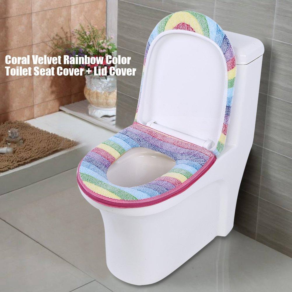 Coprisedili per WC 2 pezzi in morbido velluto corallo lavabili lavabili