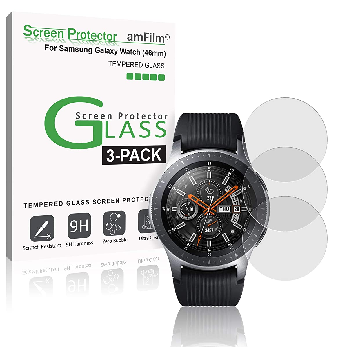 amFilm Glass Screen Protector Compatible with Samsung Galaxy Watch 2018 (46mm) 3 Pack Screen Protector for Galaxy Watch 46mm 2018 (3 Pack)