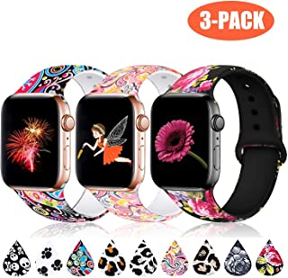 Haveda Floral Bands Compatible with Apple Watch Band 44mm 42mm, Soft Pattern Printed Silicone Sport Replacement Wristbands for Women Men Kids with iWatch Series 4 Series 3/2/1, S/M, 3 Pack