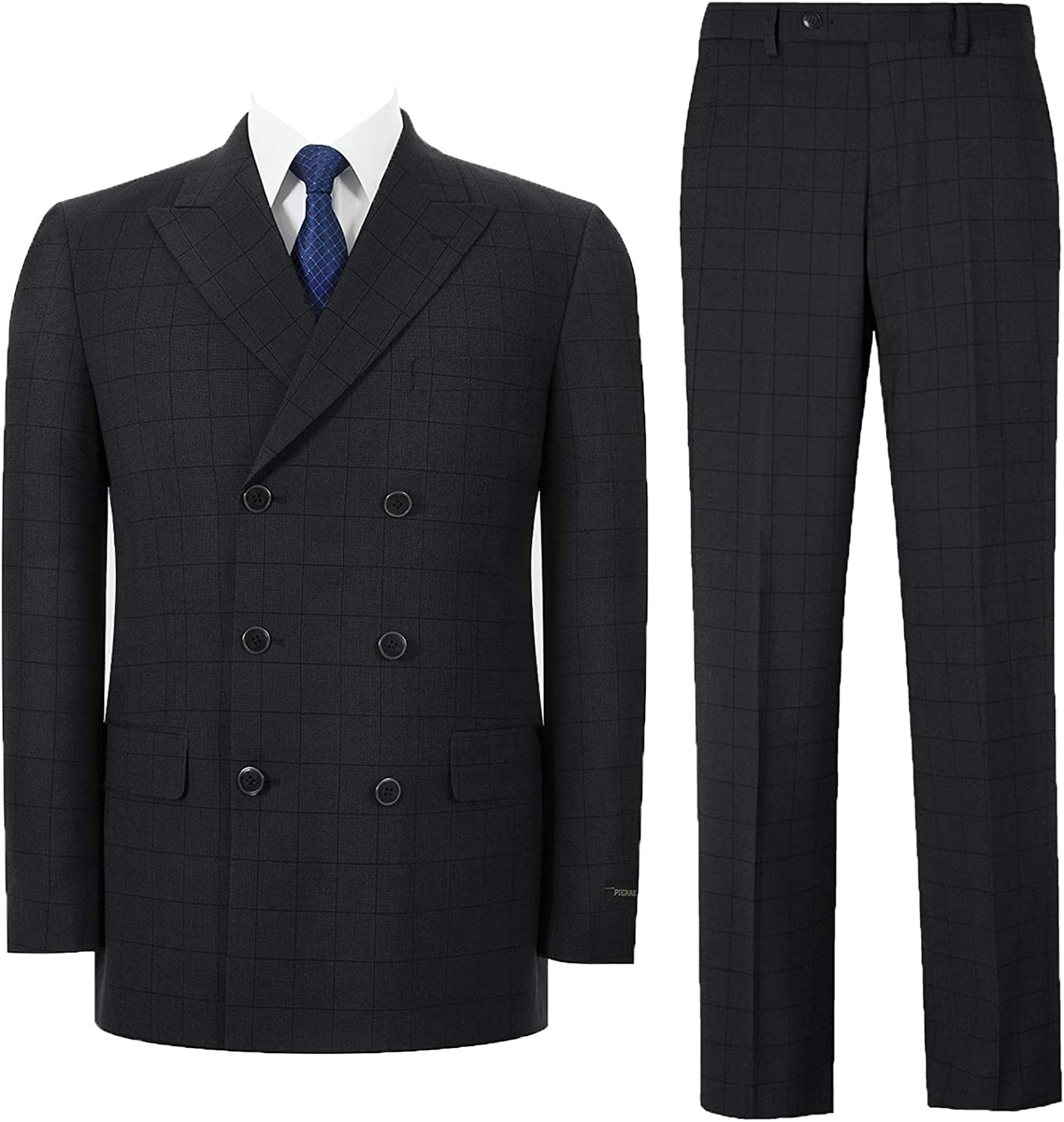 QSYJ Mens Double Breasted 2 Piece Suit Classic Fit Peak Lapel Blazer Jacket & Trousers