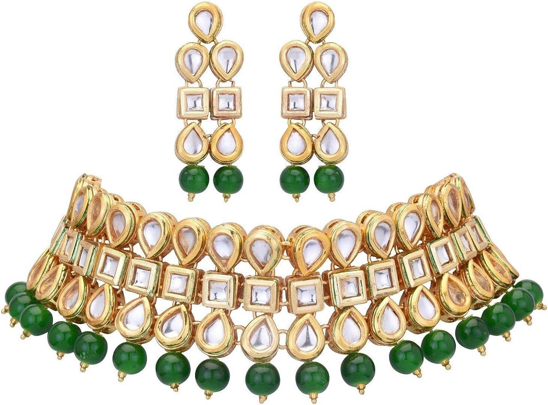 Indian Traditional Bridal Emerald Pearls Kundan Bollywood Fashion Jewelry Set