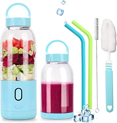 KEYJINIU Portable Blender,Personal Blender for Shakes and Smoothies,Mini Juice Cup 4000mAh USB Rechargeable with Six 3D Blades, Mini Blender for Smoothie, Fruit Juice,500ml