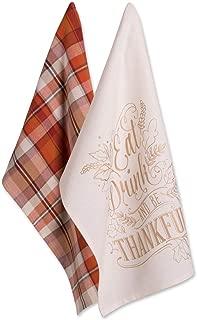DII 100% Cotton 18x28 Thanksgiving Dish Towels Set of 2-Be Thankful, Dishtowel S/2, Be Plaid
