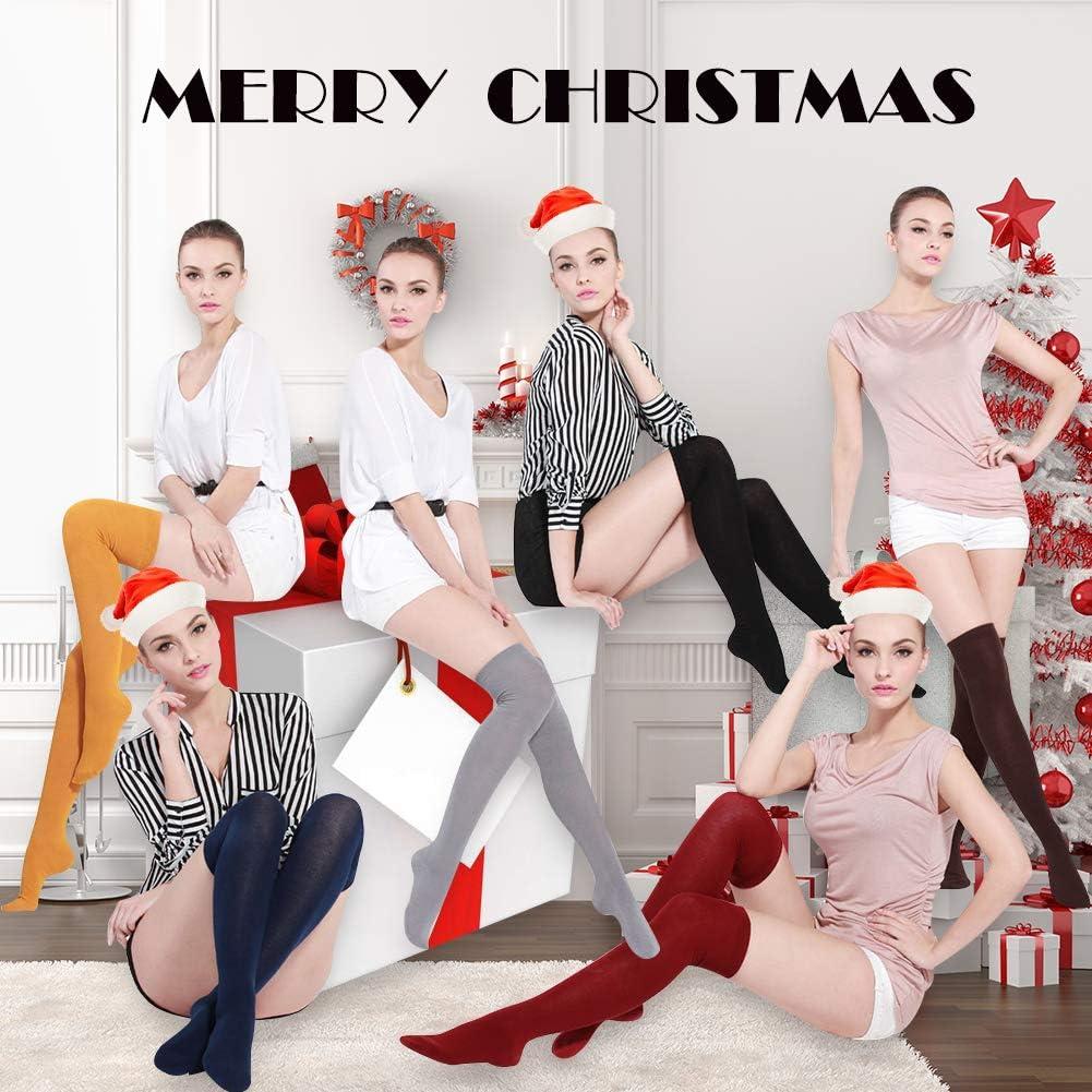 Women's Over Knee High Socks, MEIKAN Fashion Soft Cotton Cosplay Thigh High Socks 3 Pack