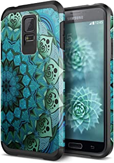 Galaxy S5 Case, SmartLegend 2 in 1 Hybrid Dual Layer Heavy Duty Protection Impact Resist Armor Protective Case with Shockproof Rubber Bumper for Samsung Galaxy S5 - Blue Lotus